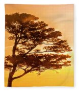 Bonsai Pine Sunrise Fleece Blanket