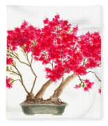 Bonsai Tree - Kurume Azalea Fleece Blanket