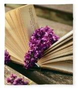 Book And Flower Fleece Blanket