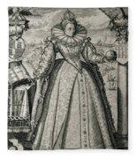 Book Frontispiece Celebrating Queen Elizabeth I's Happy And Prosperous Reign Fleece Blanket