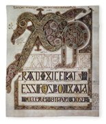 Book Of Lindisfarne Initial Fleece Blanket