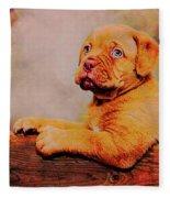 Bordeaux Mastiff Pup Fleece Blanket