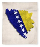 Bosnia And Herzegovina Map Art With Flag Design Fleece Blanket
