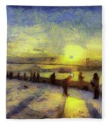 Bosphorus Sunset Art Fleece Blanket