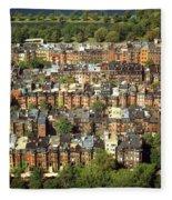 Boston Brownstone Architecture Fleece Blanket