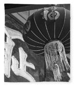 Boston Chinatown Lantern Boston Ma Black And White Fleece Blanket
