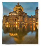 Boston Christian Science Building Reflecting Pool Fleece Blanket