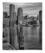 Boston Habor Sunrise Bw Fleece Blanket