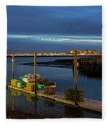 Boston Ma Belle Isle Boat Pier And Skyline Logan Airport Fleece Blanket