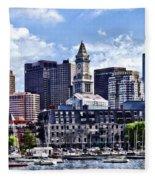 Boston Ma - Skyline With Custom House Tower Fleece Blanket