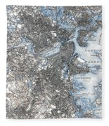 Boston Map, 1903 Fleece Blanket