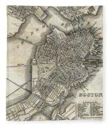Boston Map Of 1842 Fleece Blanket