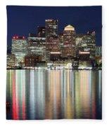 Boston Night Skyline Panorama Fleece Blanket