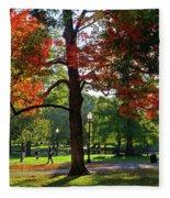 Boston Public Garden Autumn Tree Morning Light Walk In The Park Fleece Blanket