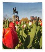 Boston Public Garden Tulips And George Washington Statue 2 Fleece Blanket