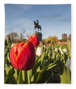 Boston Public Garden Tulips And George Washington Statue Fleece Blanket