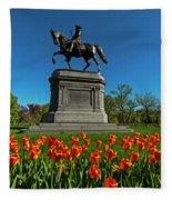 Boston Public Garden Tulips Boston Ma Fleece Blanket