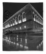 Boston Public Library Rainy Night Boston Ma Black And White Fleece Blanket