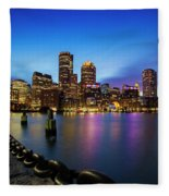 Boston Skyline At Dusk Fleece Blanket
