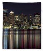 Boston Skyline At Night Fleece Blanket
