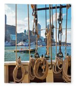 Boston Skyline From The Boston Harbor Fleece Blanket