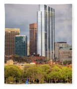 Boston Skyline Skyscraper Boston Ma Charles River Fleece Blanket