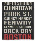 Boston Subway Stops Poster Fleece Blanket