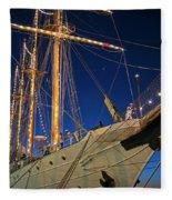 Boston Tall Ship Flags Boston Ma Sailors Blue Sky Fleece Blanket