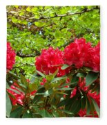 Botanical Garden Art Prints Red Rhodies Trees Baslee Troutman Fleece Blanket