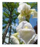 Botanical Landscape Trees Blue Sky White Irises Iris Flowers Fleece Blanket