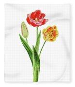 Botanical Tulip Bouquet Watercolor Fleece Blanket