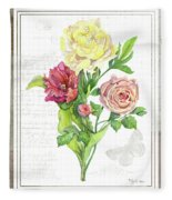 Botanical Vintage Style Watercolor Floral 3 - Peony Tulip And Rose With Butterfly Fleece Blanket