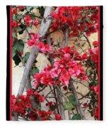 Bougainvillea On Mission Wall - Digital Painting Fleece Blanket