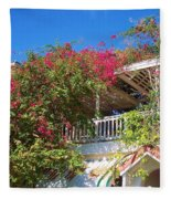Bougainvillea Villa Fleece Blanket