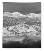 Boulder County Continental Divide Panorama Bw Fleece Blanket