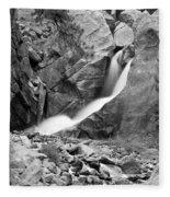 Boulder Falls Black And White   Fleece Blanket