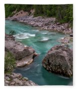 Boulder In The River - Slovenia Fleece Blanket