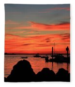 Rock Sunset Silhouette Fleece Blanket