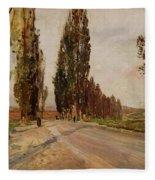 Boulevard Of Poplars Near Plankenberg Fleece Blanket