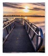 Bountiful Lake Pier Fleece Blanket