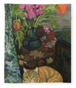 Bouquet And A Cat Fleece Blanket