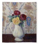Bouquet De Roses Dans Un Vase 1885 Fleece Blanket