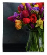 Spring Flowers In Vase Fleece Blanket