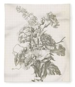 Bouquet Of Different Flowers, Jacques Bailly I, Ca. 1670 , Fleece Blanket