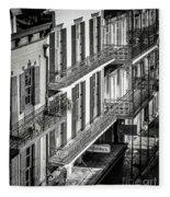 Bourbon Street Morning-bw-nola Fleece Blanket