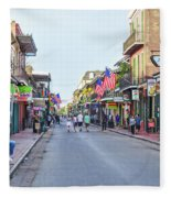 Bourbon Street - New Orleans Louisianna Fleece Blanket