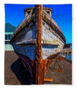 Bow Of Old Worn Boat Fleece Blanket
