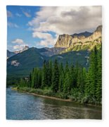Bow River And Three Sisters Canmore Fleece Blanket