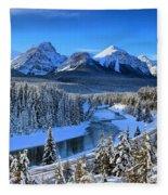 Bow River Parkway Blue Skies Fleece Blanket