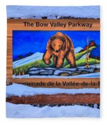 Bow Valley Parkway Snowy Entrance Fleece Blanket